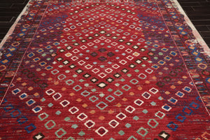 9x12 Machine Made 100% Wool Boho Modern & Contemporary Oriental Area Rug Red, Ivory Color