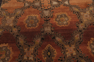 6x9 Hand Knotted Tibetan 100% Wool Medallion Motif Traditional Oriental Area Rug Peach, Gray Color