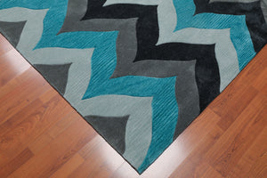 5'x8' Grey Charcoal Aqua Color Hand Tufted Pile Area Rug Polyster Contemporary & Modern Oriental Rug