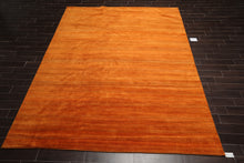9' x12'  Tone on Tone Orange Color Hand Knotted Persian 100% Wool Modern & Contemporary Oriental Rug