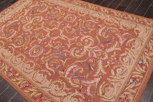 "6'1""x9'2"" Brown Tan  Blue, Rust, Multi Color Hand Woven French Aubusson Needlepoint Area Rug Wool Traditional Oriental Rug"