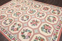 "7'5""x9'8"" Cream Rose Aqua, Rust, Green, Purple, Lavender, Multi Color Hand Woven French Aubusson Needlepoint Area Rug Wool Traditional Oriental Rug"