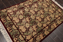 "3'11""x5'9"" Maroon Sage Beige, Tan, Green Color Hand Knotted Persian Oriental Area Rug Wool Traditional Oriental Rug"