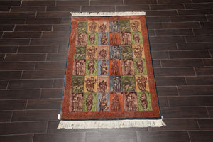 4'x6' Blue Rose Green, Brown, Taupe, Terracotta, Multi Color Hand Knotted Persian Oriental Area Rug Wool Traditional Oriental Rug