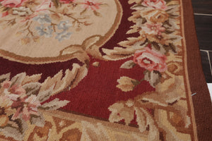 6'x9' Rust Taupe Tan, Brown, Maroon, Grey, Rose, Multi Color Hand Woven French Aubusson Needlepoint Area Rug Wool Traditional Oriental Rug
