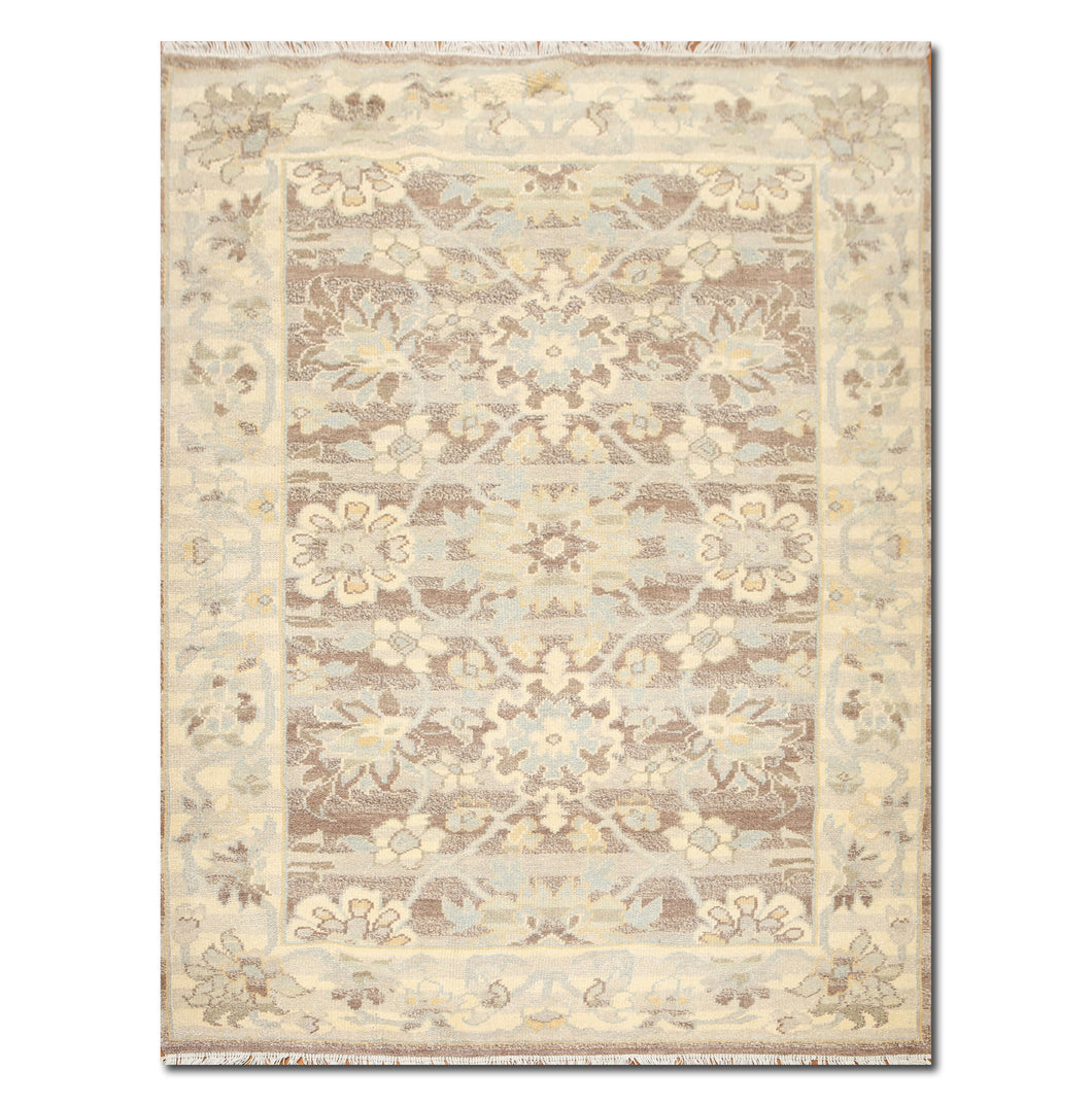 4'x6' Aqua Blue, Brown Color Hand Knotted Oriental Rug Persian Design