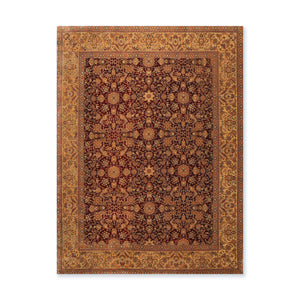 "7'9""x9'10"" Burgundy Gold Brown, Green, Tan, Multi Color Hand Knotted Persian Oriental Area Rug 100% Wool Traditional Oriental Rug"