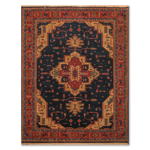 "7'9""x9'9"" Midnight Blue Rust Gold, Aqua, Brown, Multi Color Hand Knotted Persian Oriental Area Rug Wool Traditional Oriental Rug"