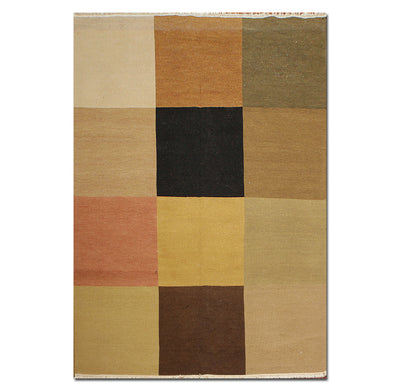 9'x12' Tan Taupe Rust, Brown, Green, Blue, Multi Color Hand Woven Needlepoint Area Rug 100% Wool Traditional Oriental Rug