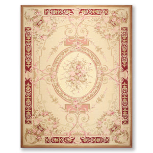 9'x12' Warm Beige Cranberry Rose, Brown, Tan, Multi Color Hand Woven Aubusson  Area Rug 100% Wool Traditional Oriental Rug