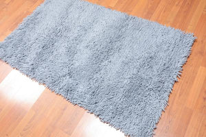 Wool Shag Rug - Handwoven Blue 100% Wool Area Rug 3'x5'