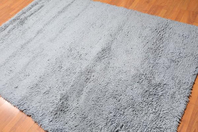 Wool Shag Rug - Handwoven Greyish Blue 100% Wool Area Rug 5'3