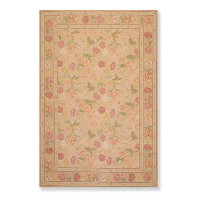 6'x9' Tan Brown Green, Beige, Rose, Gold, Multi Color Hand Woven French Aubusson Needlepoint Area Rug Wool Traditional Oriental Rug