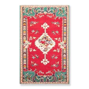 "4'9""x8' Red Turquoise Ivory, Blue, Peach, Green, Pale Pink, Brown, Multi Color Hand Knotted Persian Oriental Area Rug Wool Traditional Oriental Rug"