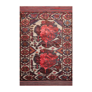 "4'2""x6'4"" Beige Rose Brown, Blue, Multi Color Hand Knotted Persian Oriental Area Rug Wool Traditional Oriental Rug"