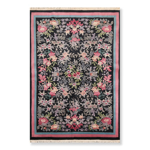 6'x9' Black Rose Blue, Grey, Lavender, Green, Multi Color Hand Knotted French Aubusson Oriental Area Rug Wool Traditional Oriental Rug