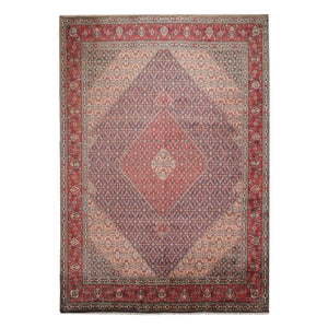 09' 10''x13' 00'' Navy Rose Ivory Color Hand Knotted Persian 100% Wool Traditional Oriental Rug