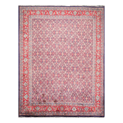 09' 11''x13' 01'' Navy Coral Ivory Color Hand Knotted Persian 100% Wool Traditional Oriental Rug