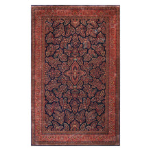 09' 10''x16' 00'' Navy Rose Rust Color Hand Knotted Persian 100% Wool Traditional Oriental Rug