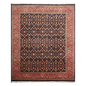 08' 01''x10' 00'' Midnight Blue  Rose Olive Color Hand Knotted Persian 100% Wool Traditional Oriental Rug