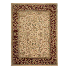 10' 03''x14' 00'' Beige Wine  Aqua Color Hand Knotted Persian 100% Wool Traditional Oriental Rug