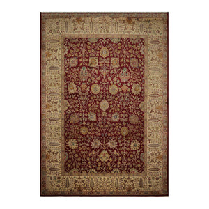 10' 02''x14' 07'' Burgundy Beige Tan Color Hand Knotted Persian 100% Wool Traditional Oriental Rug