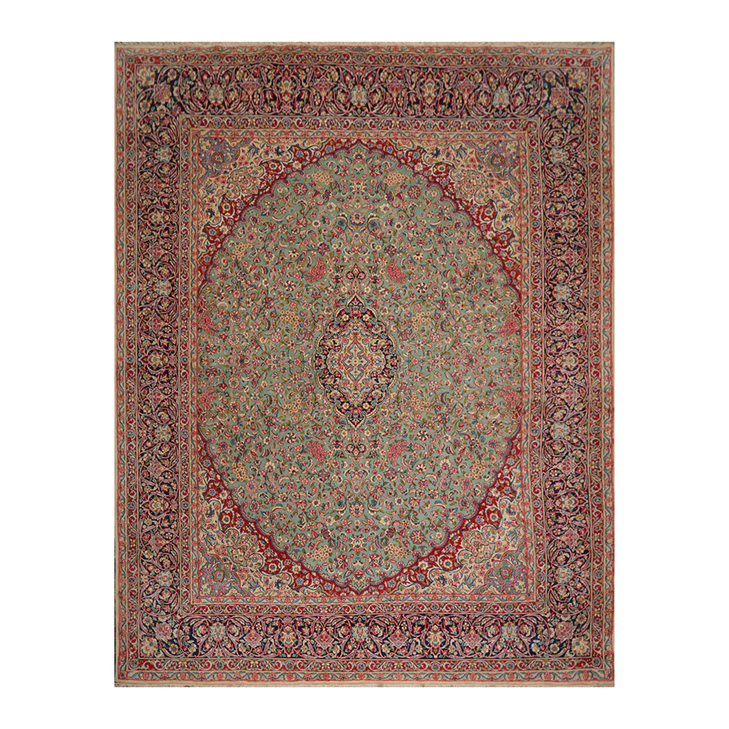 09' 09''x12' 08'' Aqua Navy Red Color Hand Knotted Persian 100% Wool Traditional Oriental Rug
