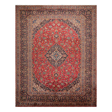 09' 07''x12' 10'' Rusty Red Navy Blue Color Hand Knotted Persian 100% Wool Traditional Oriental Rug