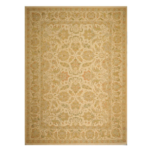 09' 09''x13' 04'' Gold Green Rust Color Hand Knotted Persian 100% Wool Traditional Oriental Rug