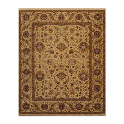 08' 01''x10' 01'' Dusty Gold Rust Brown Color Hand Knotted Persian 100% Wool Traditional Oriental Rug