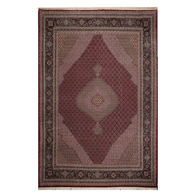 09' 10''x13' 08'' Burgundy Taupe Rose Color Hand Knotted Persian 100% Wool Traditional Oriental Rug