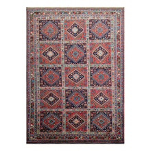 07' 01''x09' 09'' Burnt Orange Navy Blue Color Hand Knotted Persian 100% Wool Traditional Oriental Rug