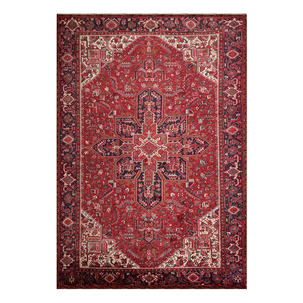 09' 01''x13' 02'' Red with Orange Undertones Navy Ivory Color Hand Knotted Persian 100% Wool Traditional Oriental Rug