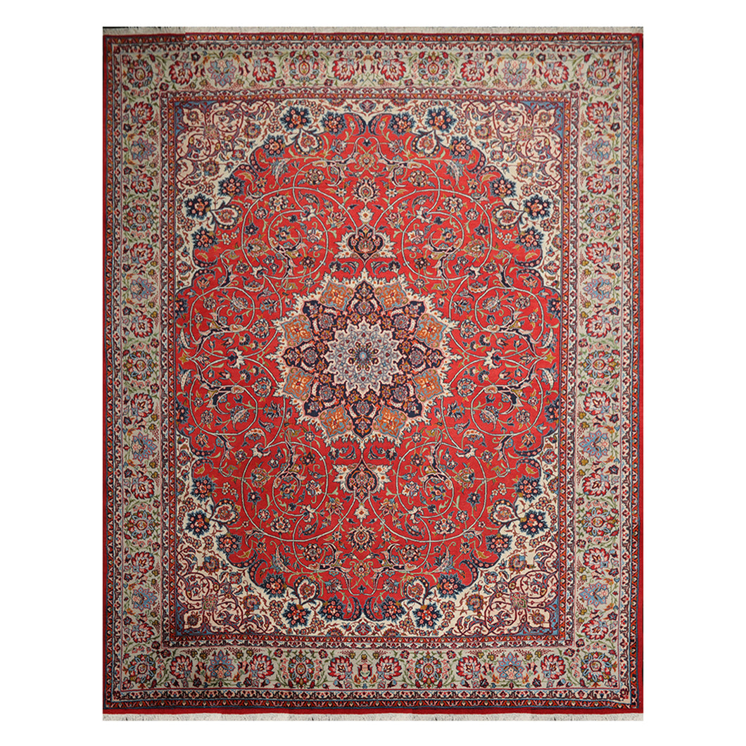 10' 00''x12' 08'' Burnt Orange Ivory Navy Color Hand Knotted Persian 100% Wool Traditional Oriental Rug