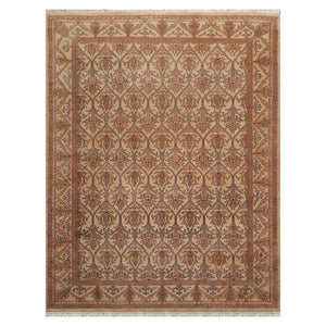 07' 04''x09' 07'' Beige Tan Aqua Color Hand Knotted Persian 100% Wool Traditional Oriental Rug