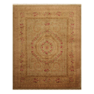 07' 09''x09' 09'' Tan Brown Rose Color Hand Knotted Savonnerie 100% Wool Traditional Oriental Rug