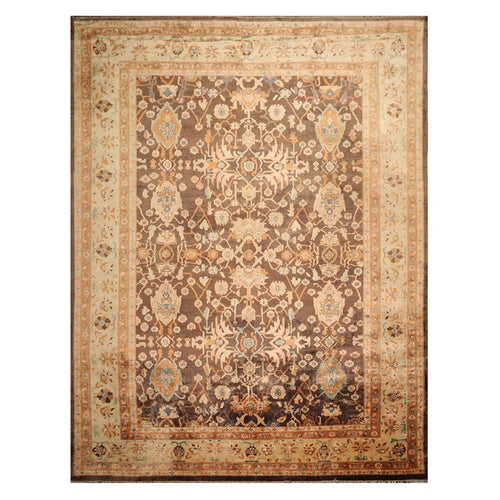 10' 04''x13' 06'' Brown Beige Rust Color Hand Knotted Persian 100% Wool Traditional Oriental Rug