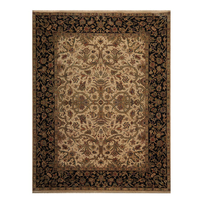 09' 02''x12' 02'' Beige Black Green Color Hand Knotted Persian 100% Wool Traditional Oriental Rug