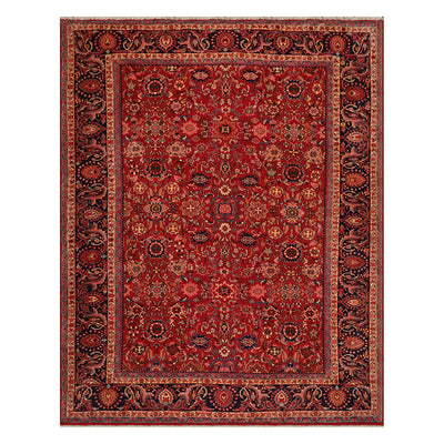 08' 09''x11' 02'' Rusty Red Midnight Blue  Beige Color Hand Knotted Persian 100% Wool Traditional Oriental Rug