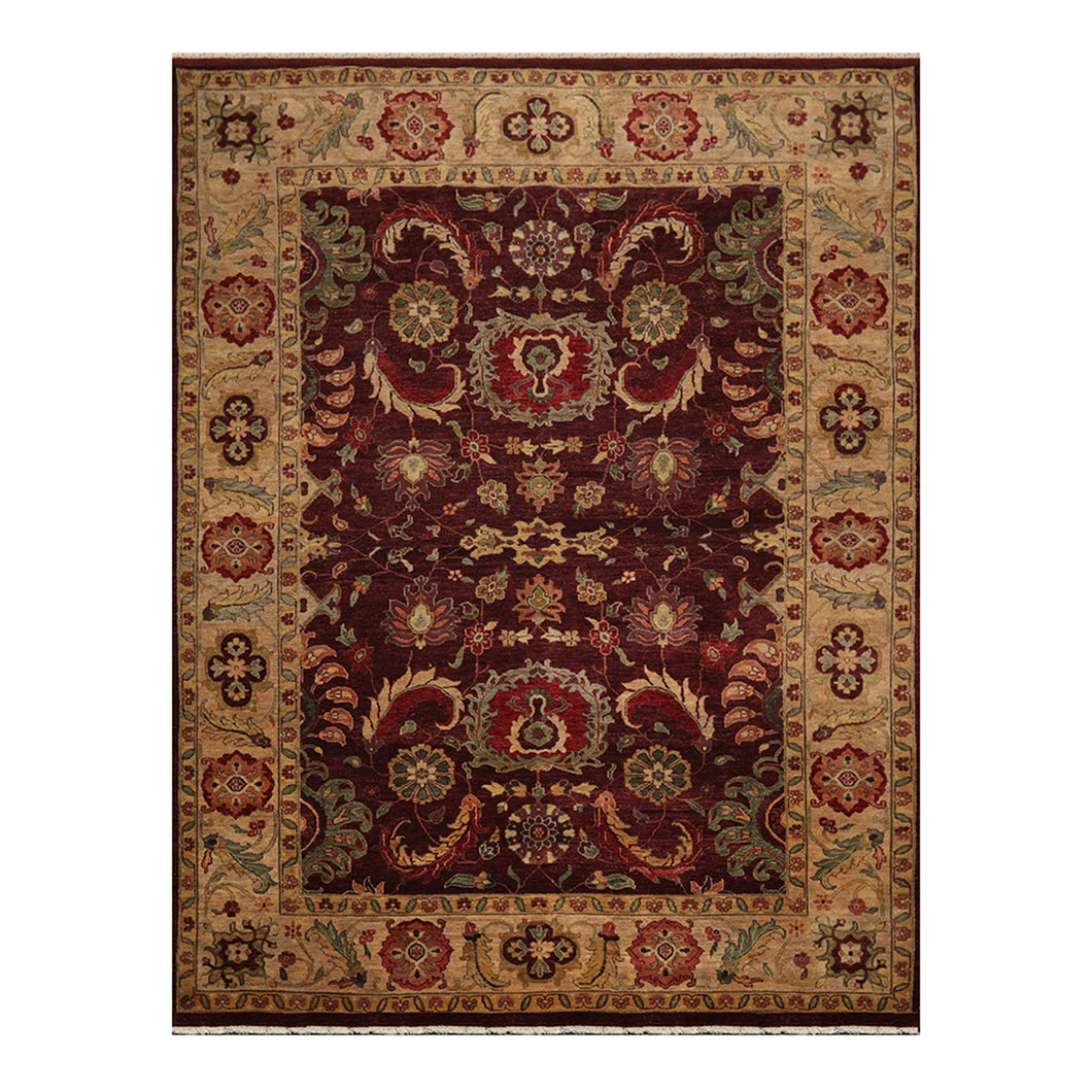 09' 02''x12' 01'' Maroon  Tan Gold Color Hand Knotted Persian 100% Wool Traditional Oriental Rug