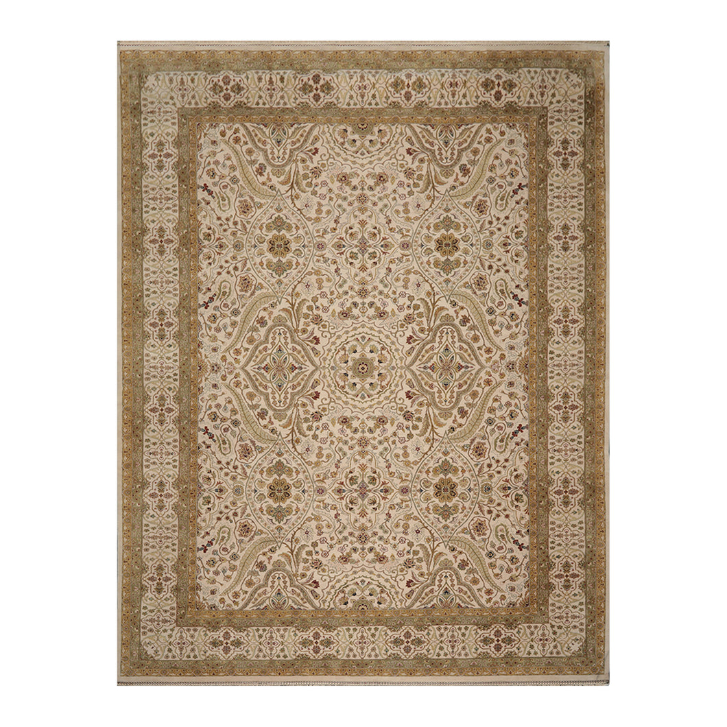 10' 00''x13' 10'' Beige Sage Gold Color Hand Knotted Persian 100% Wool Traditional Oriental Rug