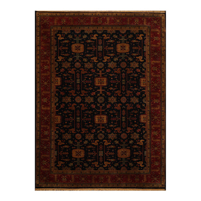 08' 02''x11' 02'' Midnight Blue  Rusty Red Gold Color Hand Knotted Persian 100% Wool Traditional Oriental Rug