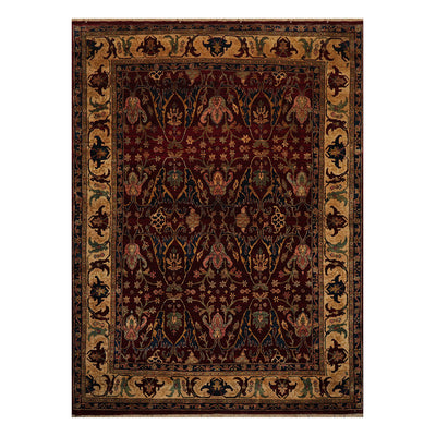09' 00''x12' 03'' Burgundy Maroon  Gold Color Hand Knotted Persian 100% Wool Traditional Oriental Rug