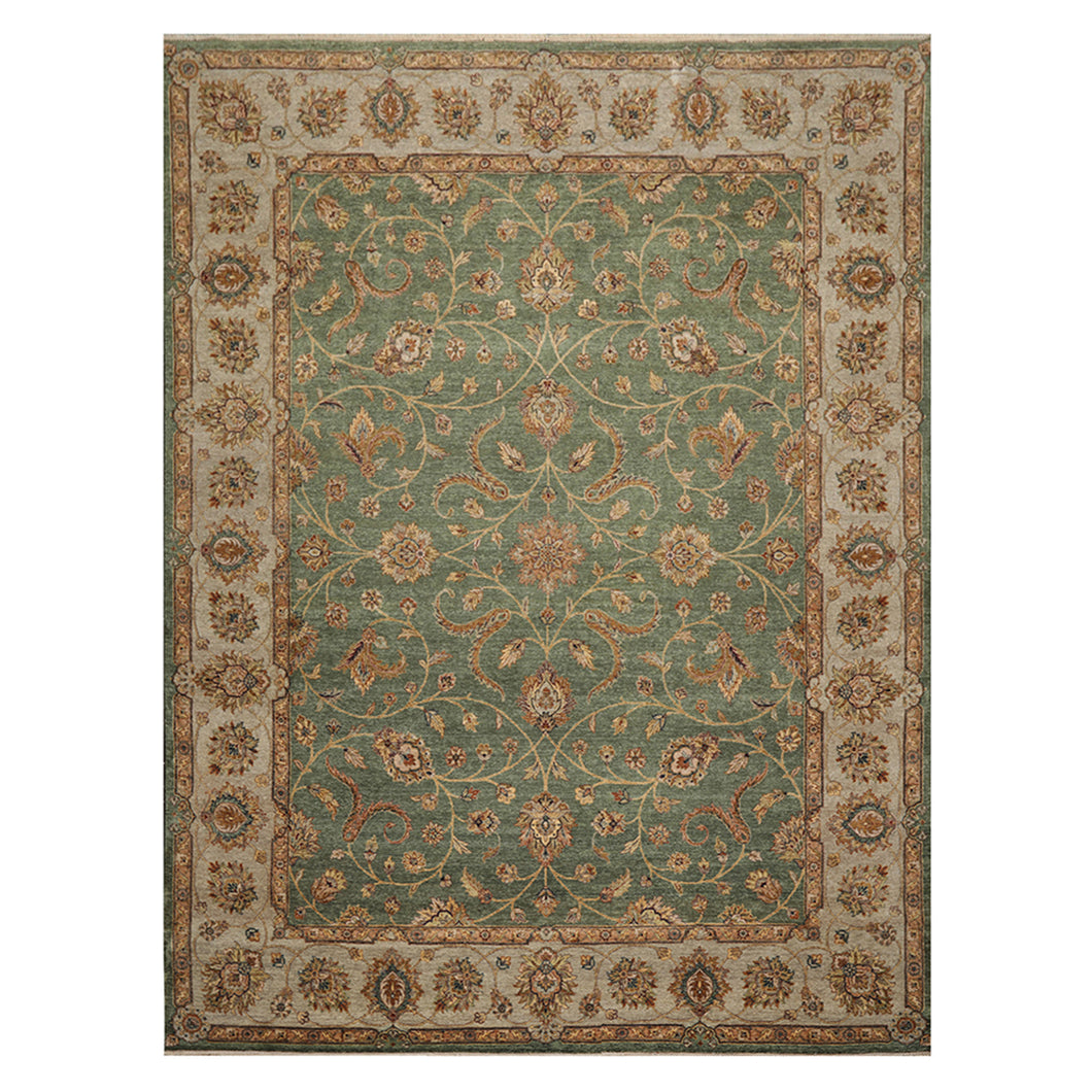 09' 02''x12' 02'' Green Gray Rust Color Hand Knotted Persian 100% Wool Traditional Oriental Rug