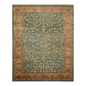 08' 11''x11' 06'' Teal Tan Beige Color Hand Knotted Persian 100% Wool Traditional Oriental Rug