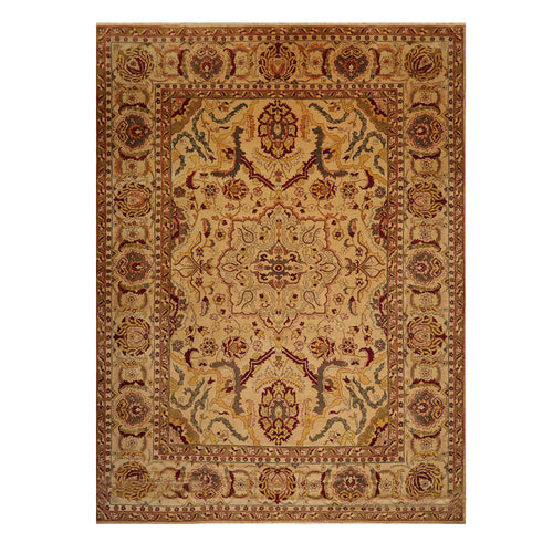 10' 01''x13' 07'' Gold Burgundy Sage Color Hand Knotted Persian 100% Wool Traditional Oriental Rug