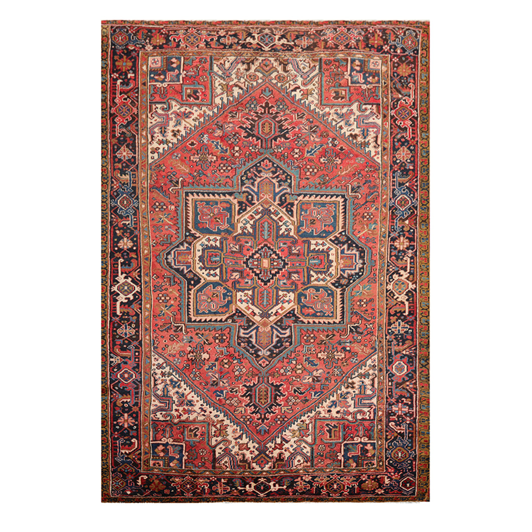 07' 06''x11' 01'' Apricot Ivory Blue Color Hand Knotted Persian 100% Wool Traditional Oriental Rug