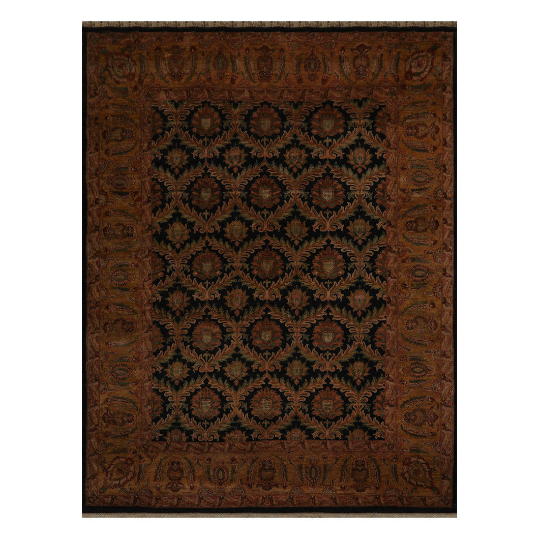 09' 02''x12' 00'' Black Gold Sage Color Hand Knotted Persian 100% Wool Traditional Oriental Rug