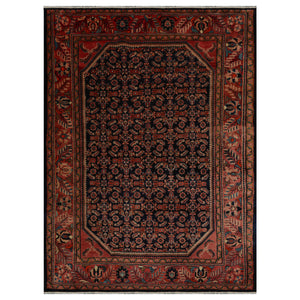 08' 00''x10' 09'' Navy Salmon Beige Color Hand Knotted Persian 100% Wool Traditional Oriental Rug