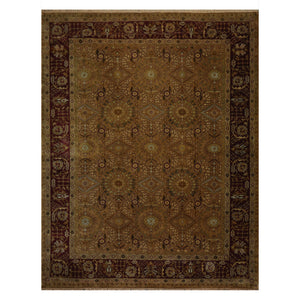 09' 00''x11' 09'' Dusty Gold Maroon  Sage Color Hand Knotted Persian 100% Wool Traditional Oriental Rug